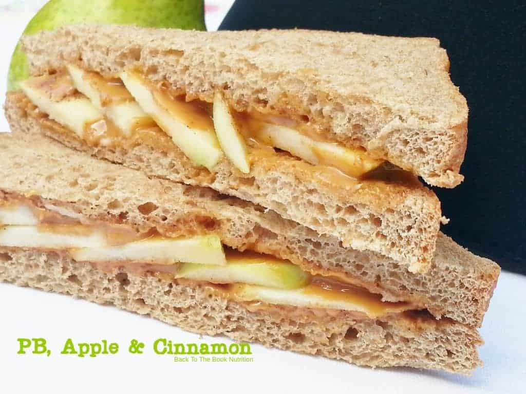 Peanut butter, apple slices and cinnamon (honey drizzle optional)