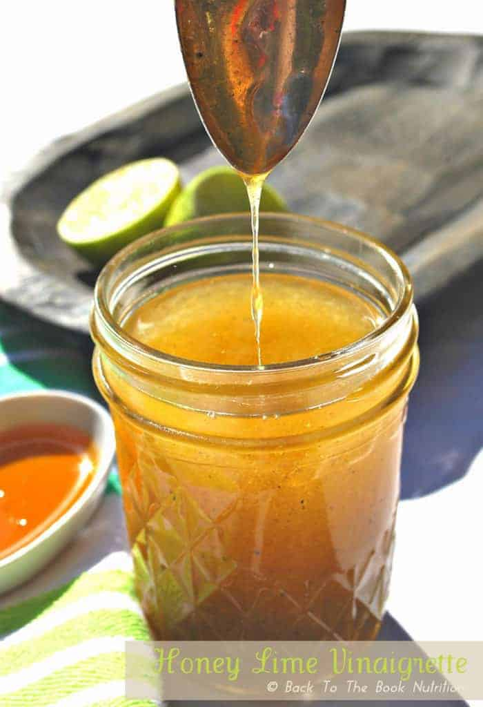 Honey Lime Vinaigrette is a light and sweet homemade salad dressing with a Tex Mex twist!