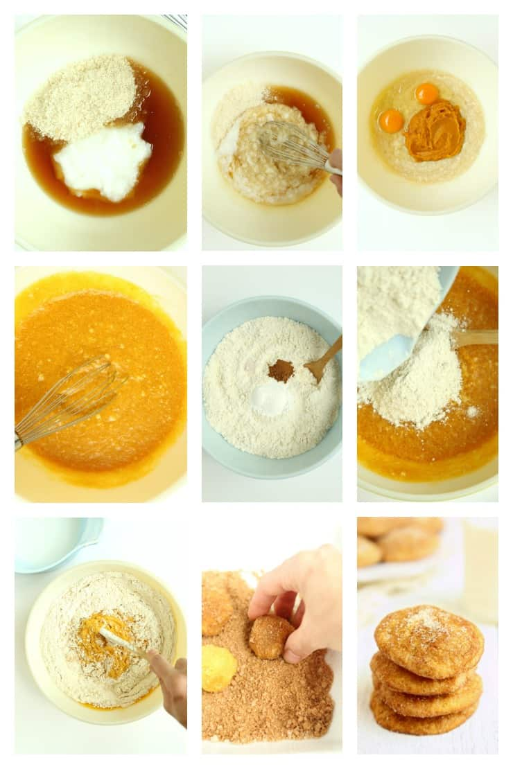 Collage of step by step images of how to make Pumpkin Snickerdoodles