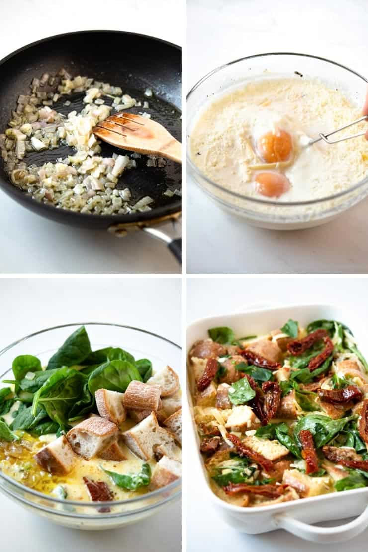 Step by step photos for making a breakfast strata
