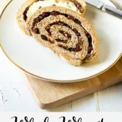 A collage image of cinnamon raisin bread