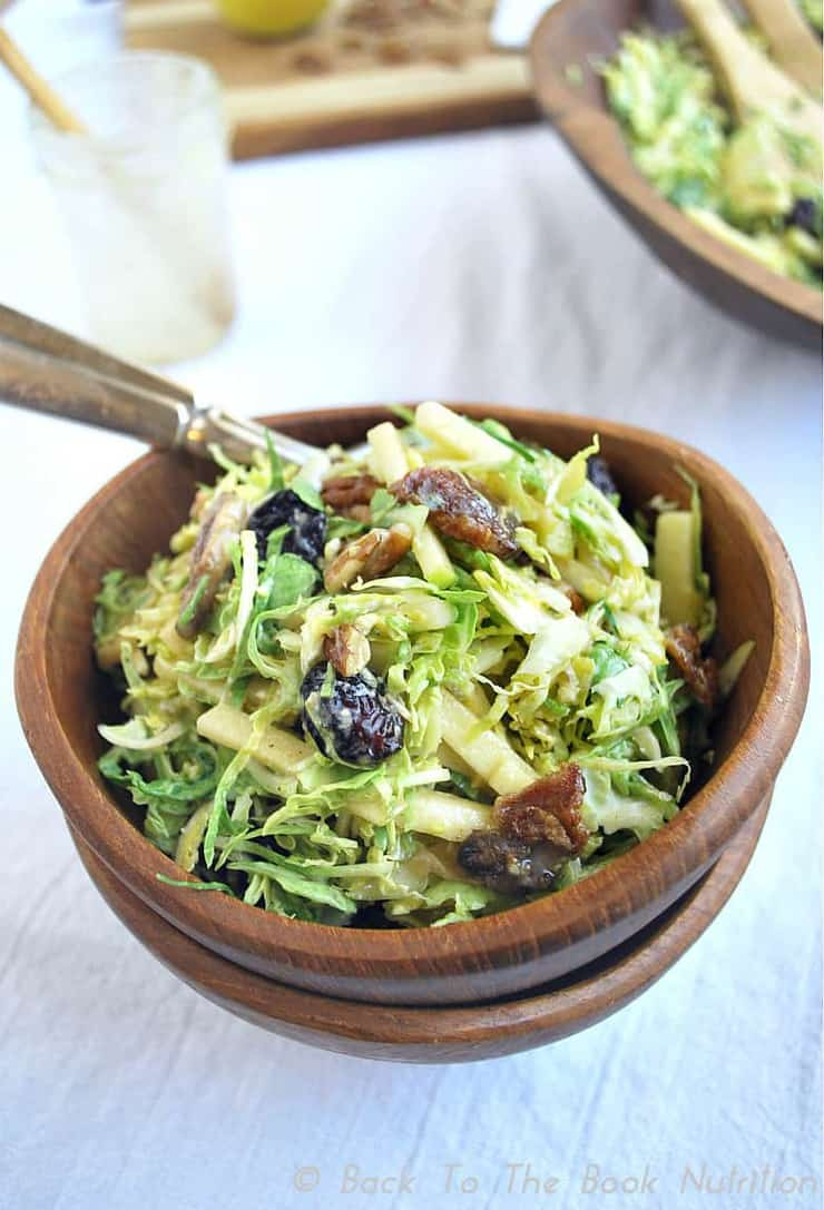 Brussels Sprouts Salad with Warm Bacon Dressing 4   www.backtothebooknutrition.com/blog