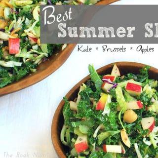 Best Summer Slaw with Kale, Brussels, Apples and Almonds | www.backtothebooknutrition.com/blog