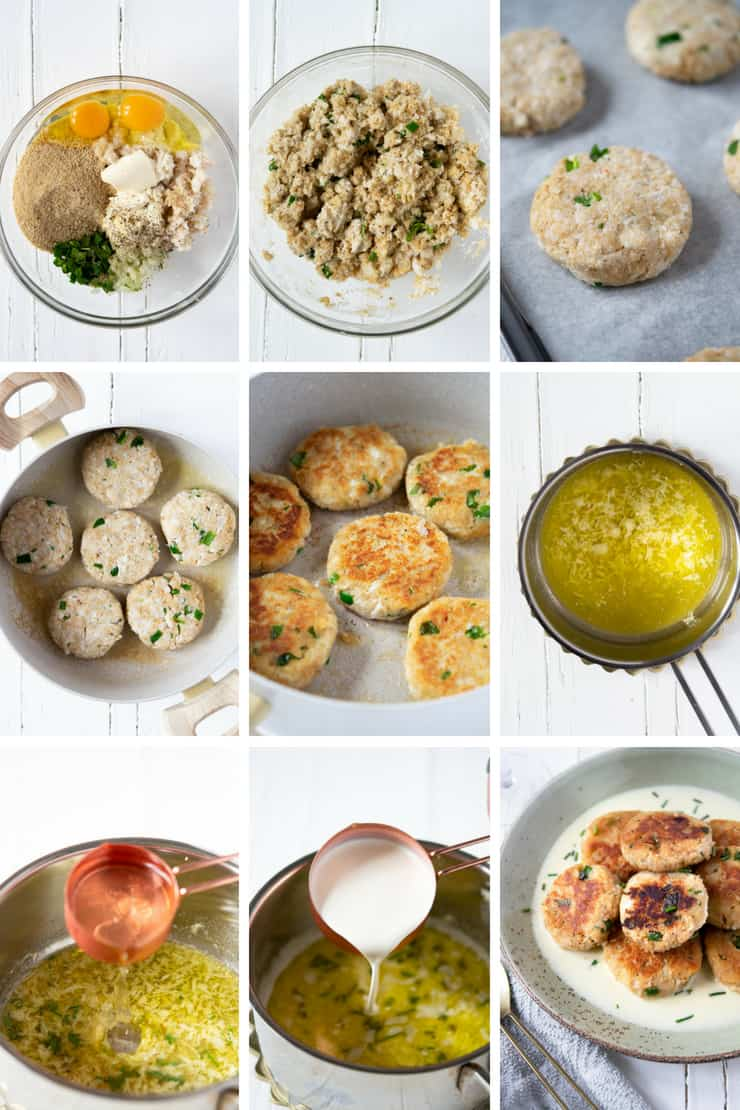 Step by step photos for making crab cakes