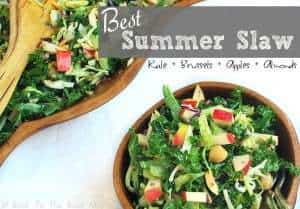 Best Summer Slaw with Kale, Brussels, Apples and Almonds