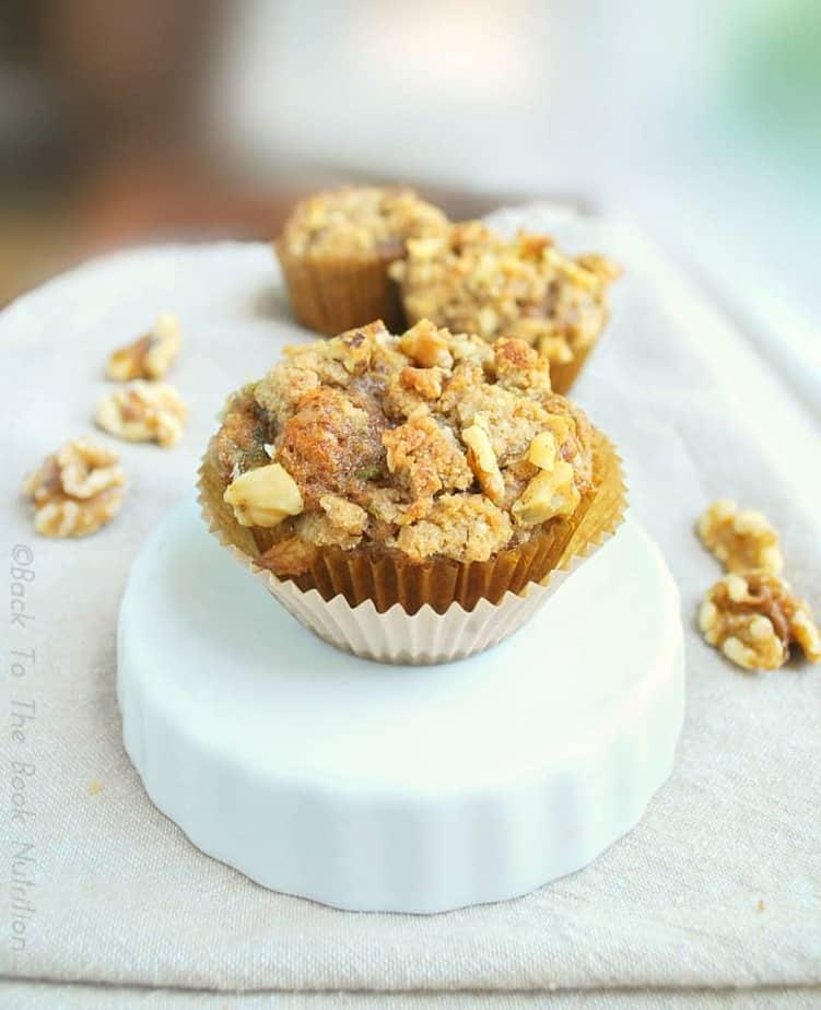 Zucchini Muffins with Maple Walnut Streusel