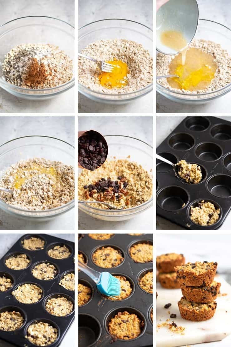 Step by step photos for making oatmeal raisin breakfast cookies