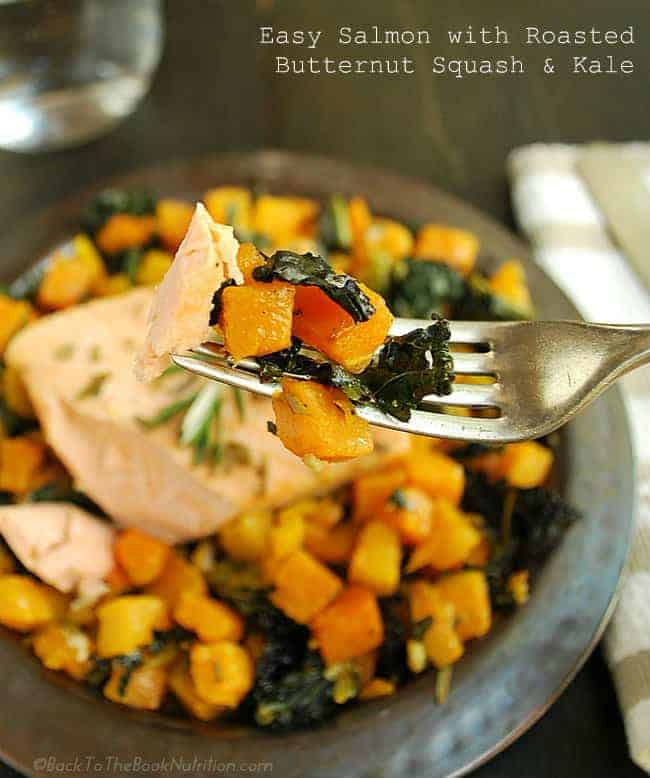 Easy Salmon with Roasted Butternut Squash and Kale - a healthy one-dish meal that's easy to prep and even easier to clean up! #grainfree | Back To The Book Nutrition