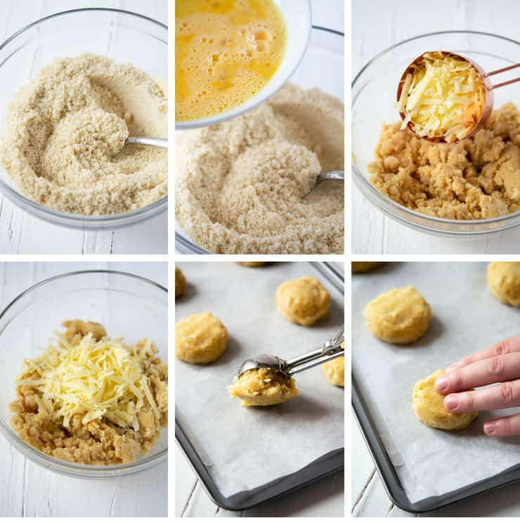 Step by step photos for making almond flour cheddar biscuits