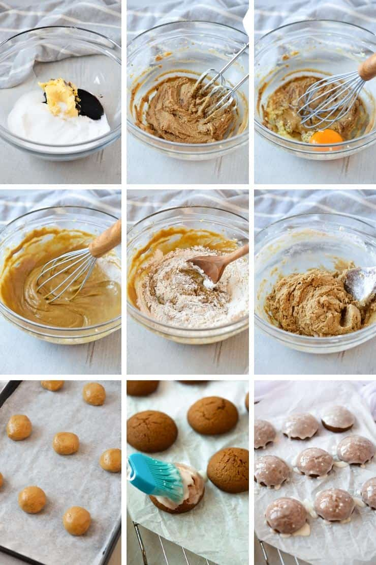 Step by step photos for making ginger cookies