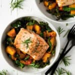 Easy Baked Salmon with Roasted Butternut Squash and Kale