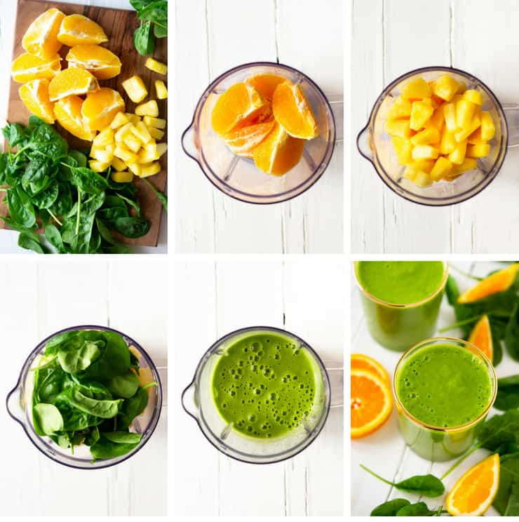 Step by step photos for making an orange pineapple green smoothie