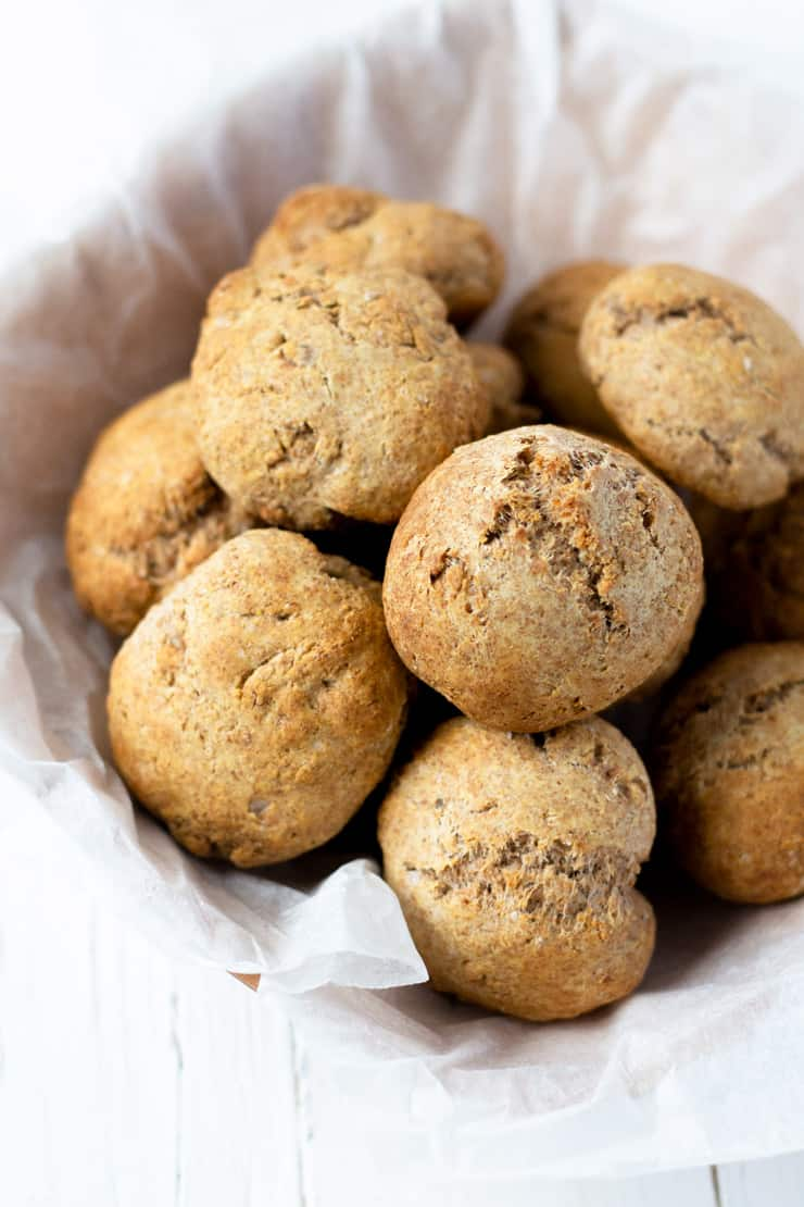 Whole wheat drop biscuits in a bowl