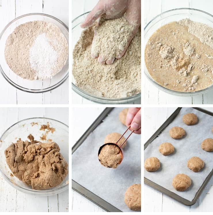 Step by step photos for making whole wheat drop biscuits