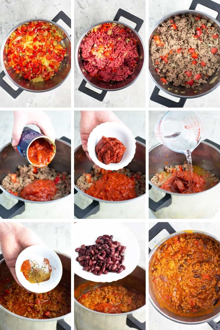Step by step photos for making real Texas chili
