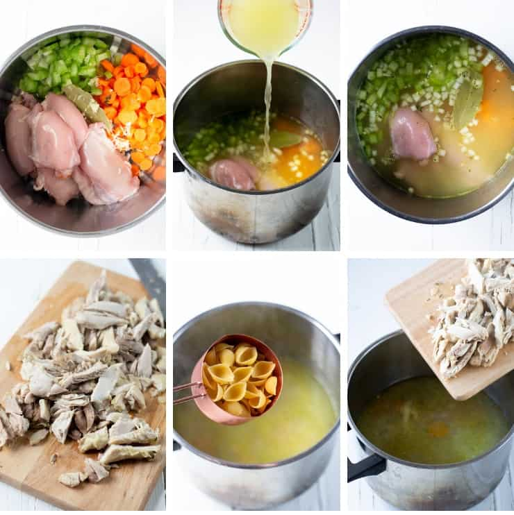 Step by step photos for making chicken noodle soup