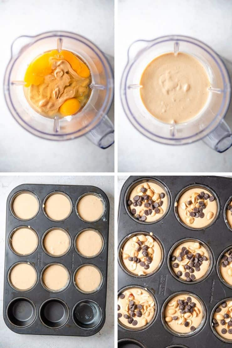 Step by step photos for how to make healthy chocolate chip muffins