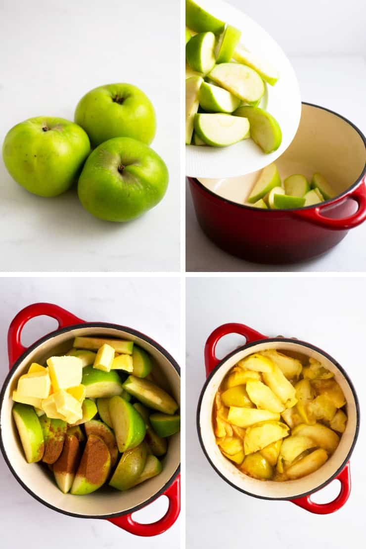 Step by step photos for making stove top apples