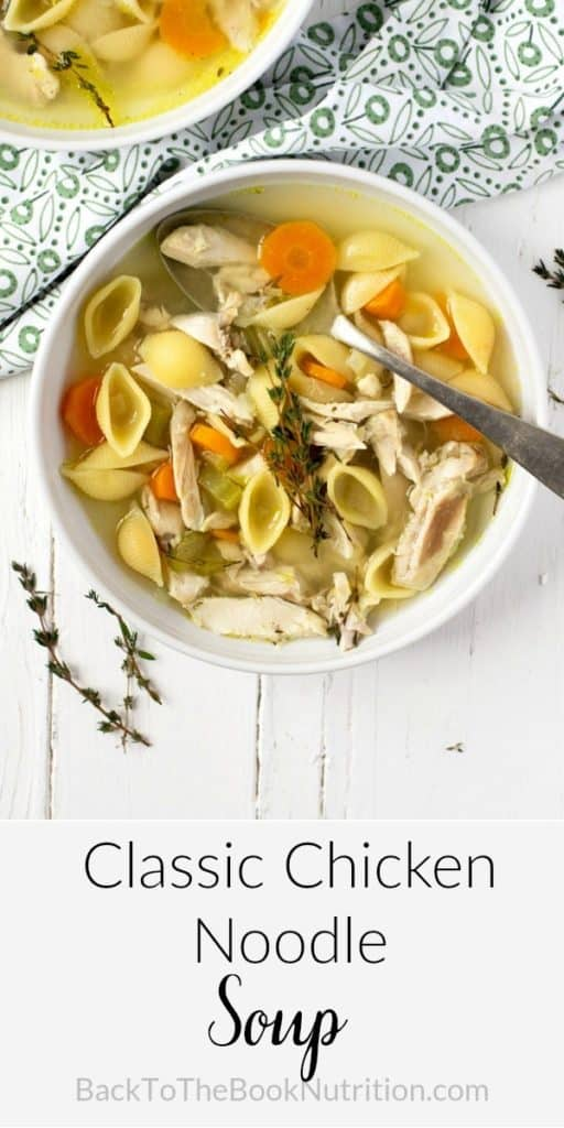 A collage image of classic chicken noodle soup
