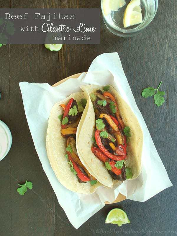Beef and bell pepper fajitas with delicious cilantro lime marinade ...