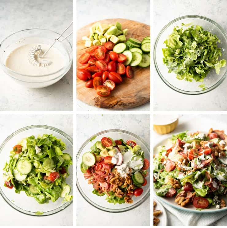 Step by step photos for making a blue cheese salad with bacon and avocado