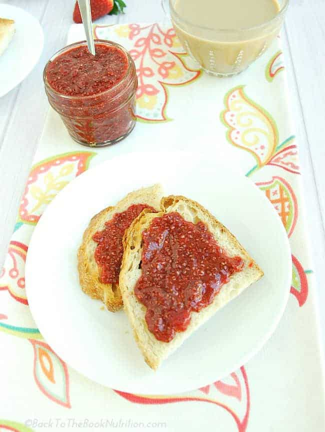Homemade strawberry jam made from just 4 simple ingredients in only 20 minutes
