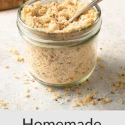 A collage image of homemade panko crumbs