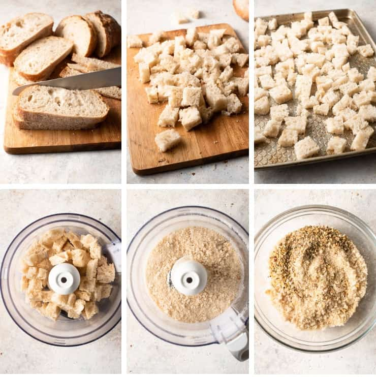 Step by step photos for making homemade panko crumbs