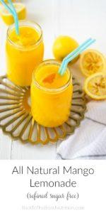 two glasses of fresh mango lemonade with straws