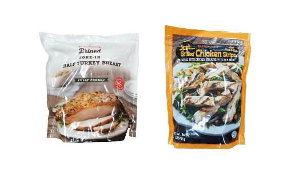 collage of Trader Joe's poultry dishes