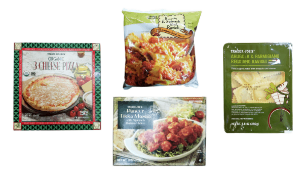 collage of 4 vegetarian dinners from Trader Joe's
