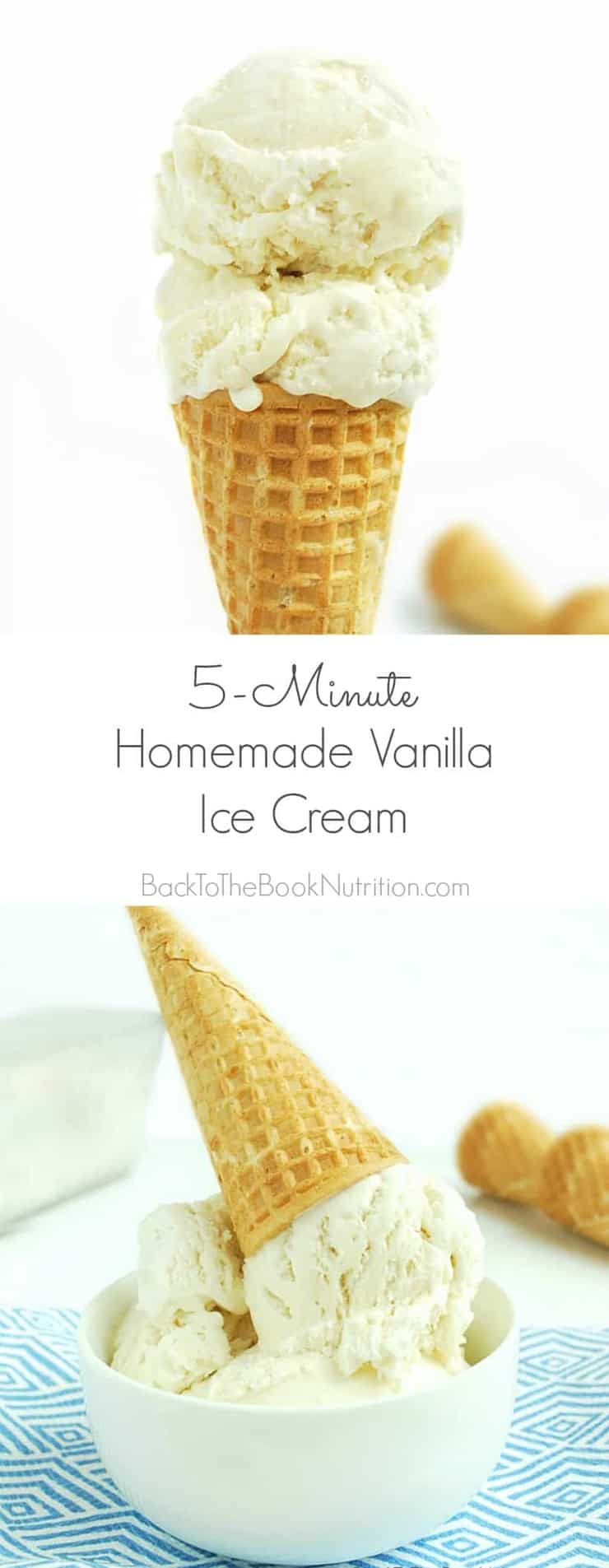 5 Minute Homemade Vanilla Ice Cream with only four ingredients! You'll be shocked by how good this stuff is with so little effort! | Back To The Book Nutrition