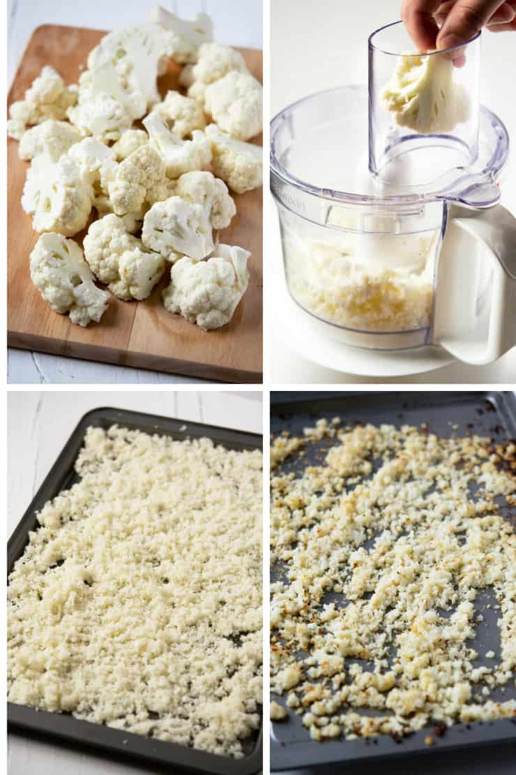 Step by step photos for how to make roasted cauliflower rice
