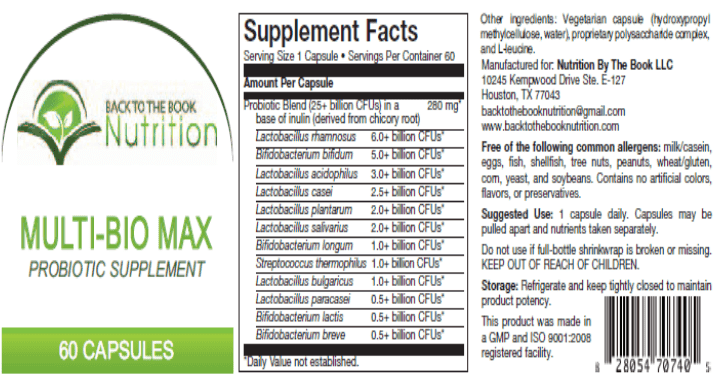 Mutli-Bio Max high potency probiotic product label | Back To The Book Nutrition