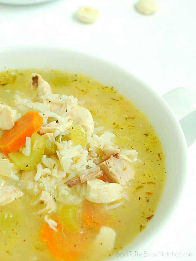 20 Minute Rotisserie Chicken and Rice Soup | Back To The Book Nutrition