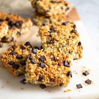 Chocolate Chunk Oatmeal Bars (Gluten free, dairy free)
