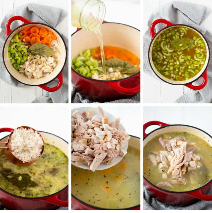 Step by step photos for making rotisserie chicken and rice soup
