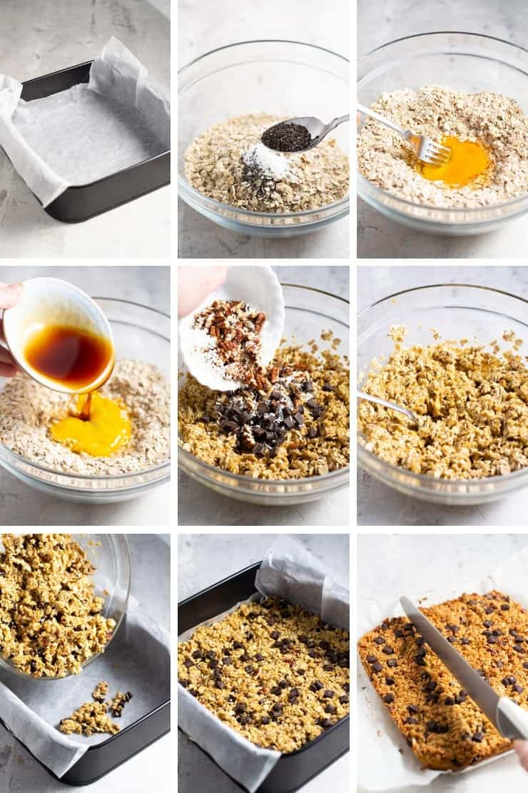 Step by step photos for making chocolate chunk oatmeal bars