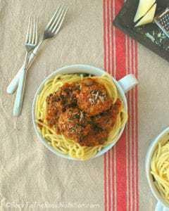 Classic Italian spaghetti and meatballs with spinach, mushrooms, and Romano cheese | Back To The Book Nutrition