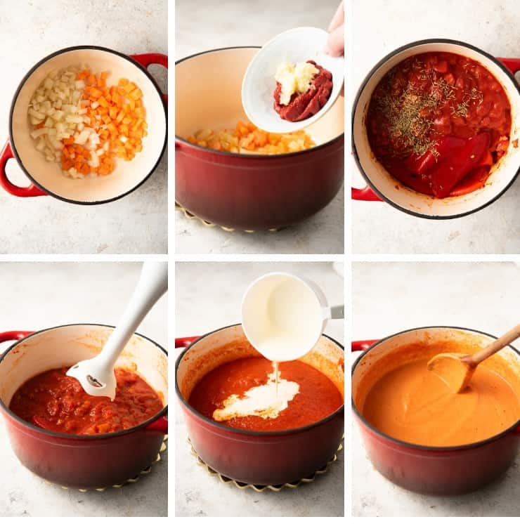 Step by step photos for making roasted red pepper soup