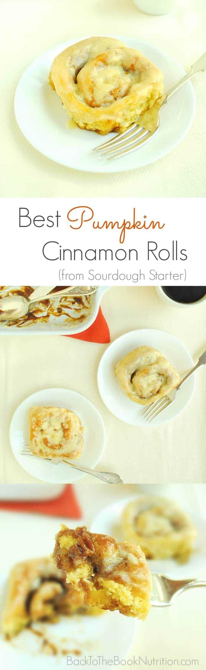 The best homemade pumpkin cinnamon rolls ever, made from sourdough starter! | Back To The Book Nutrition
