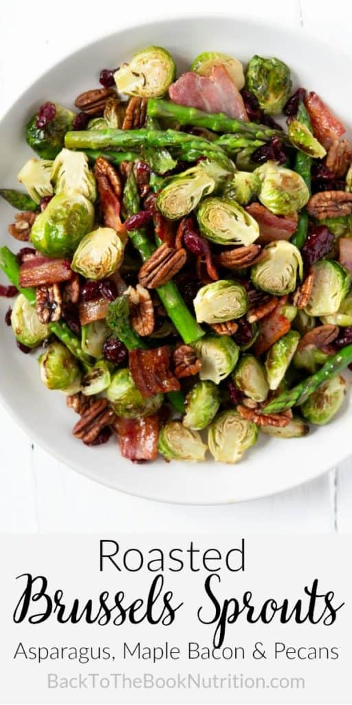 A collage image of roasted Brussels sprouts