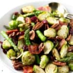 Roasted Brussels Sprouts & Asparagus with Maple Bacon & Pecans