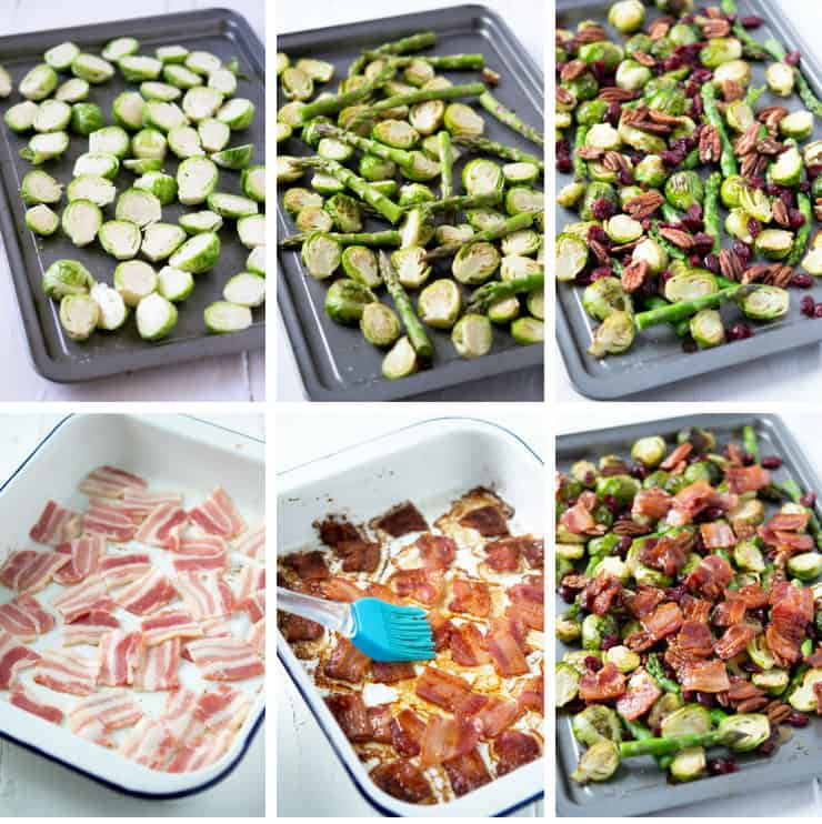Step by step photos for making roasted brussels sprouts with asparagus, bacon and pecans