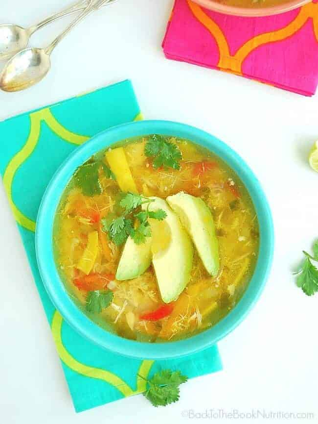 Easy Pollo de Caldo is a delicious and comforting Mexican Chicken Soup made with homeade chicken stock, vegetables, and just the right amount o Mexican herbs and spices   Back To The Book Nutrition