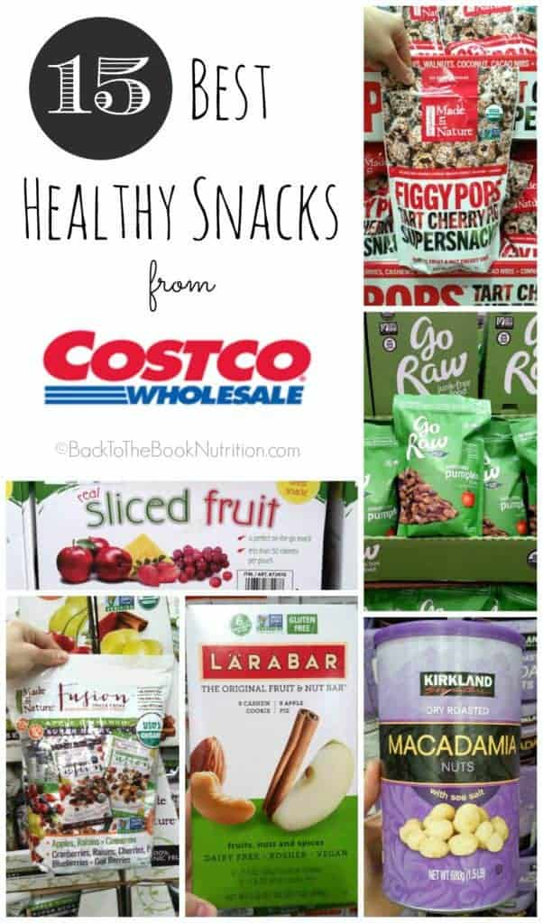 15 Best Healthy Snacks from Costco. No sugar added, no artificial flavors, & minimally processed. Perfect for school lunch and kids snacks! | Back To The Book Nutrition