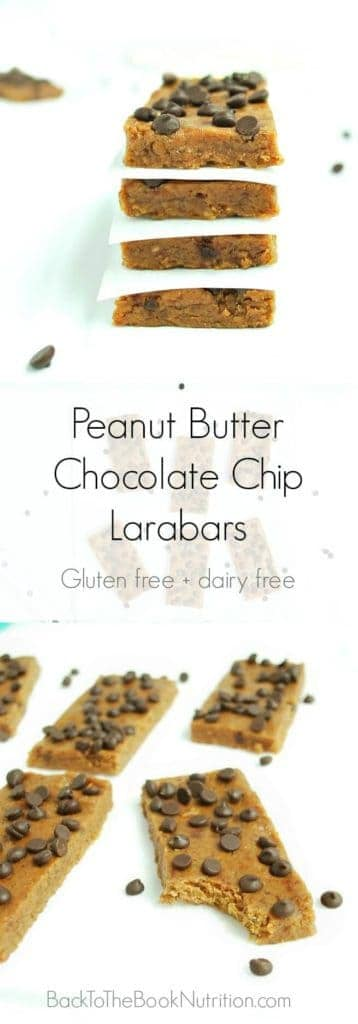 Homemade peanut butter chocolate chip Larabars are cheap, easy, and super healthy! Perfect make ahead recipe for when you need a quick breakfast or on the go snack! | Back To The Book Nutrition