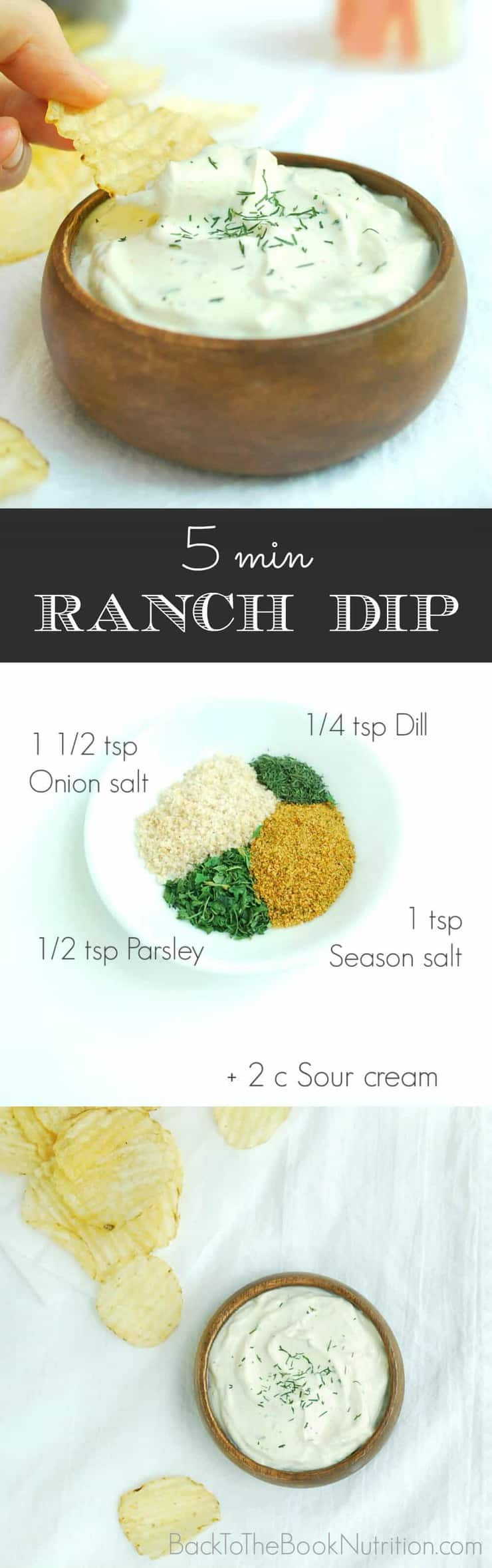 This easy 5 min Ranch Dip is delicious and so much healthier than packet mixes. Great with chips or raw veggies! | Back To The Book Nutrition