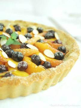 Blueberry Peach Tart is the perfect grain free, gluten free, and refined sugar free way to celebrate summer