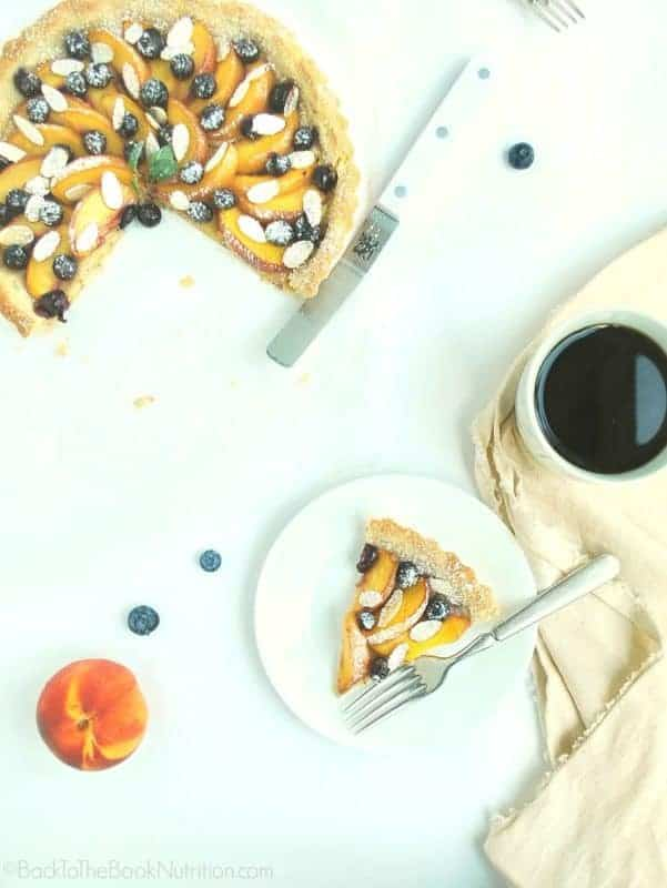 Gluten Free Blueberry Peach Tart (gluten free, grain free, refined sugar free) | Back To The Book Nutrition